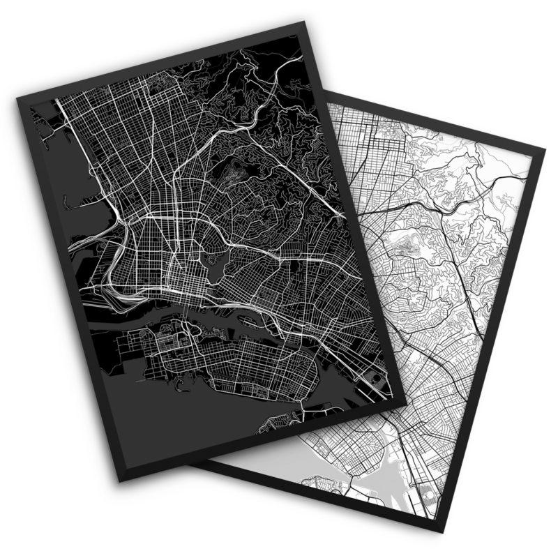 Oakland CA City Map Decor