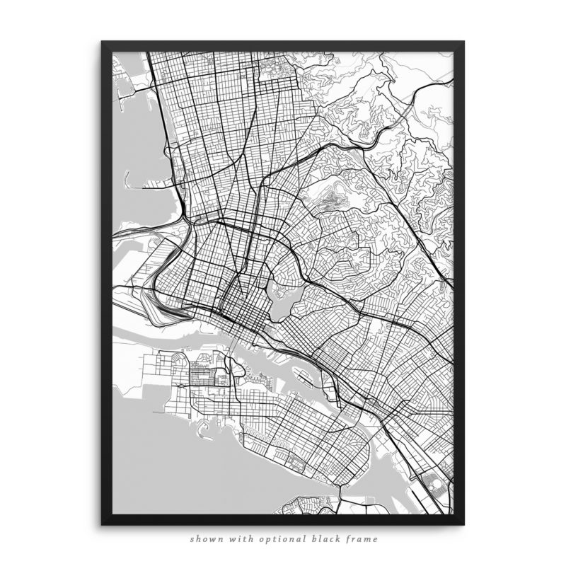 Oakland CA City Street Map White Poster
