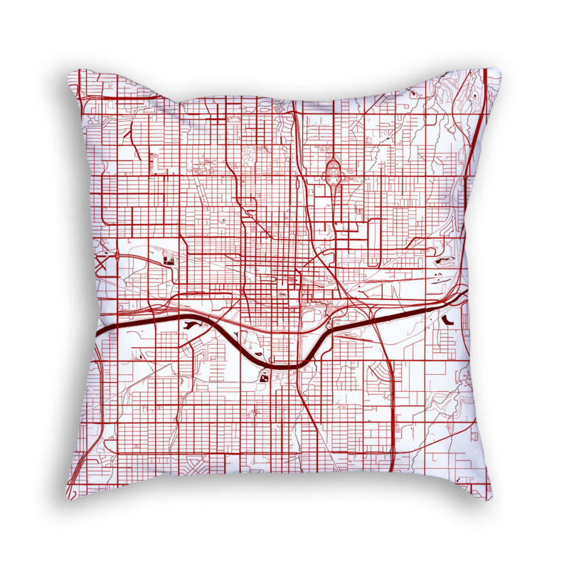 Oklahoma City Oklahoma City Map Art Decorative Throw Pillow