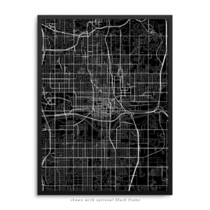 Oklahoma City OK City Street Map Black Poster