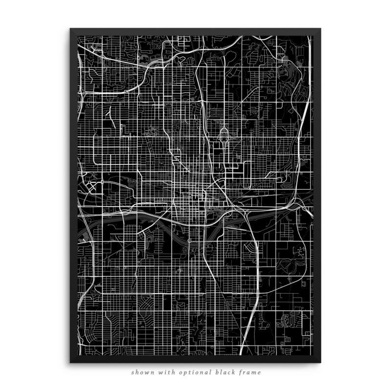 Oklahoma City OK City Street Map Black Poster