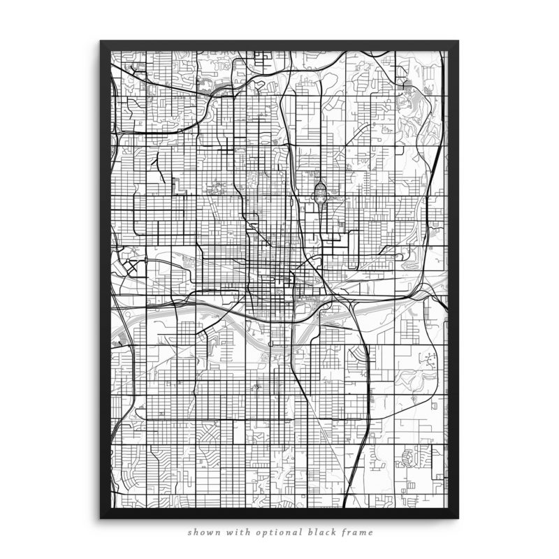 Oklahoma City OK City Street Map White Poster