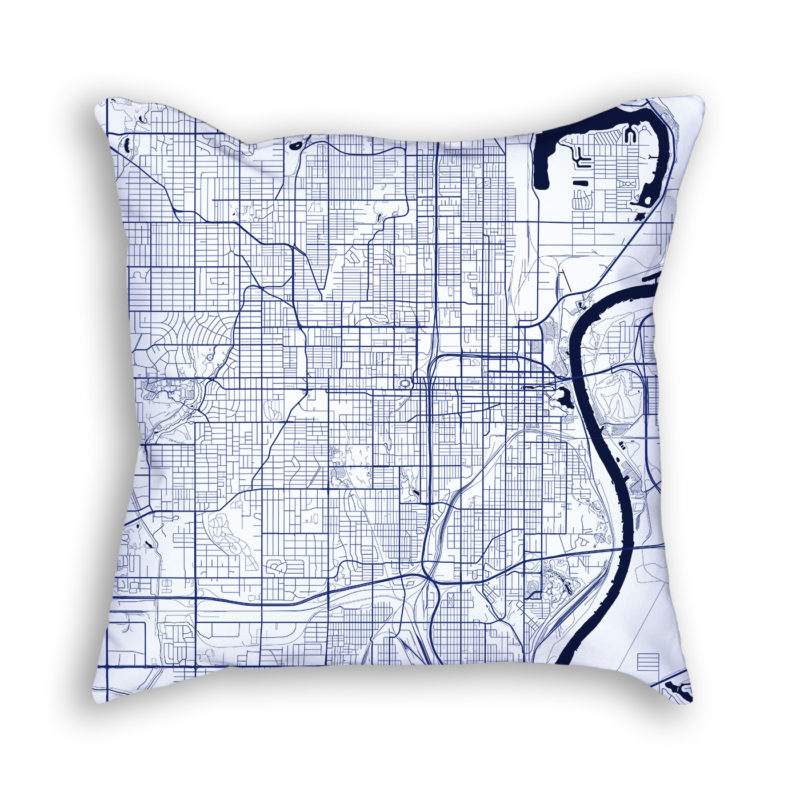 Omaha Nebraska City Map Art Decorative Throw Pillow