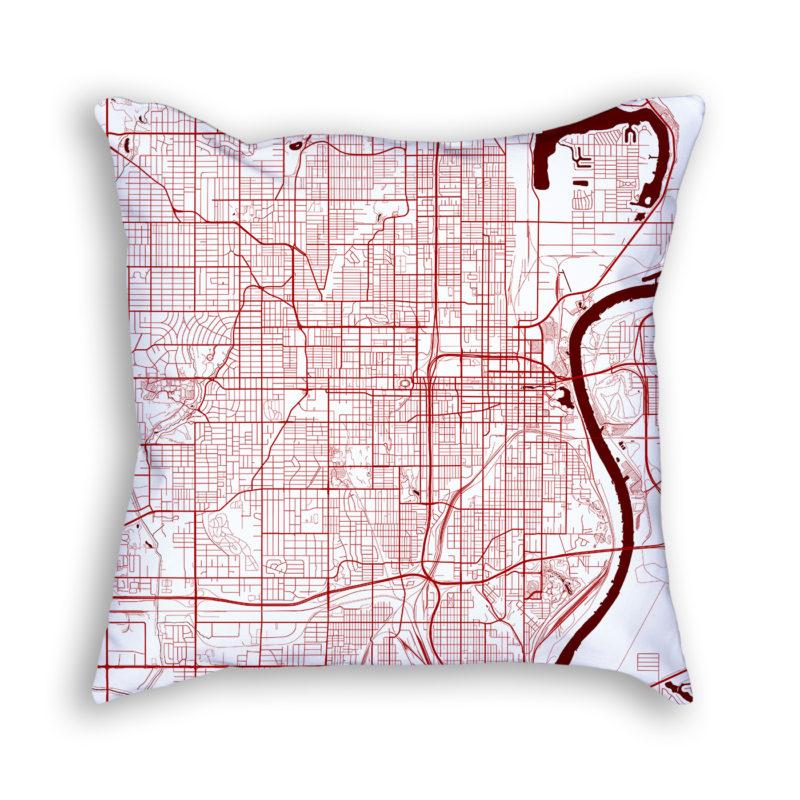 Omaha Nebraska City Map Art Decorative Throw Pillow