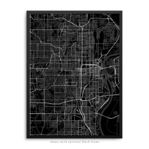 Omaha NE City Street Map Black Poster