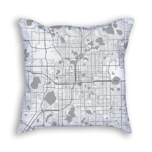 Orlando Florida City Map Art Decorative Throw Pillow