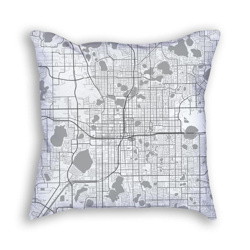 Orlando Florida City Map Art Decorative Throw Pillow