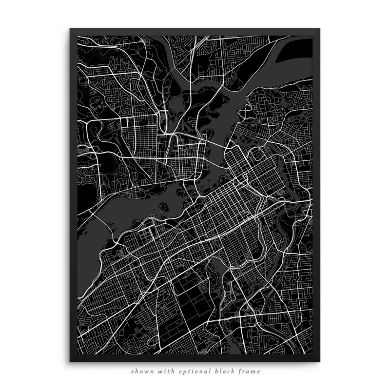 Ottawa Canada City Street Map Black Poster