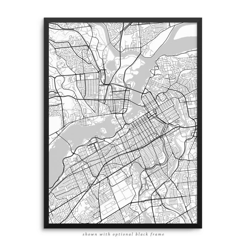 Ottawa Canada City Street Map White Poster