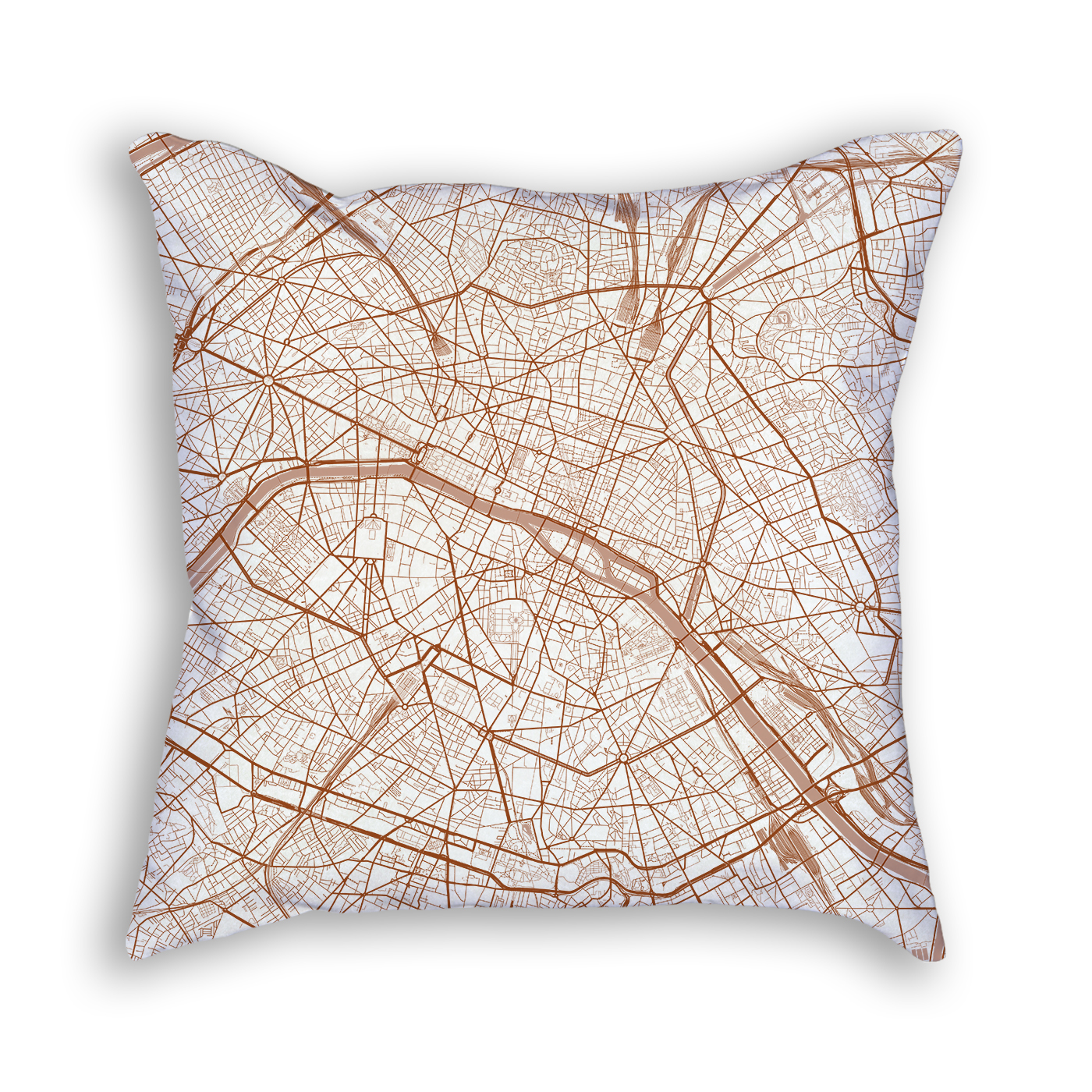 Paris France City Map Art Decorative Throw Pillow