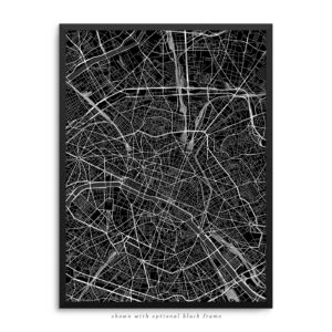 Paris France City Street Map Black Poster