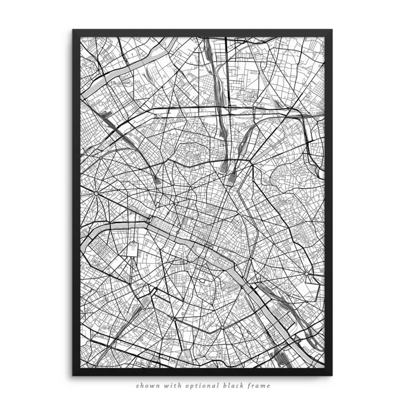 Paris France City Street Map White Poster