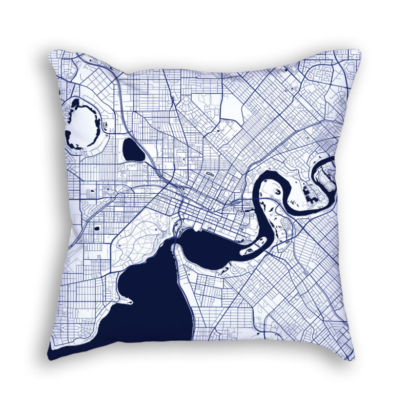 Perth Australia City Map Art Decorative Throw Pillow