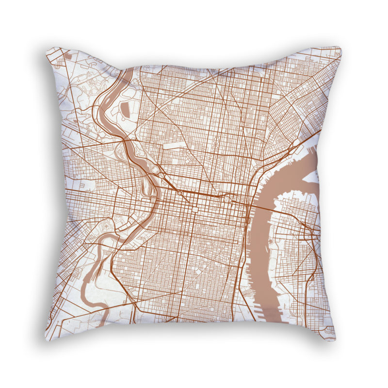 Philadelphia PA City Map Art Decorative Throw Pillow