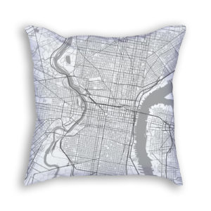 Philadelphia Pennsylvania City Map Art Decorative Throw Pillow