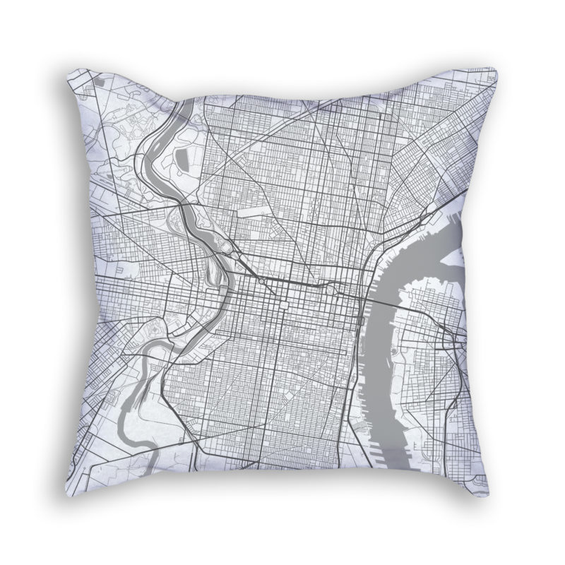 Philadelphia Pennsylvania City Map Art Decorative Throw Pillow