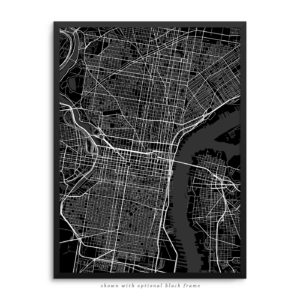 Philadelphia PA City Street Map Black Poster