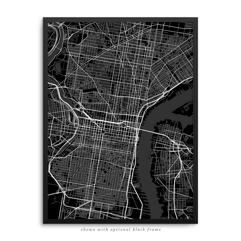Philadelphia PA City Street Map Black Poster