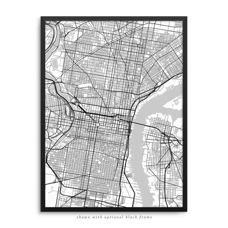 Philadelphia PA City Street Map White Poster