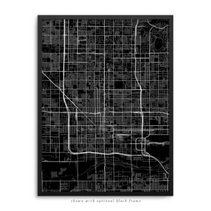 Phoenix AZ City Street Map Black Poster