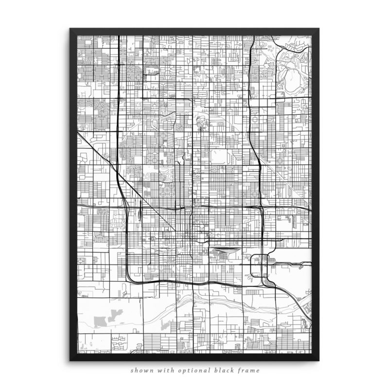 Phoenix AZ City Street Map White Poster