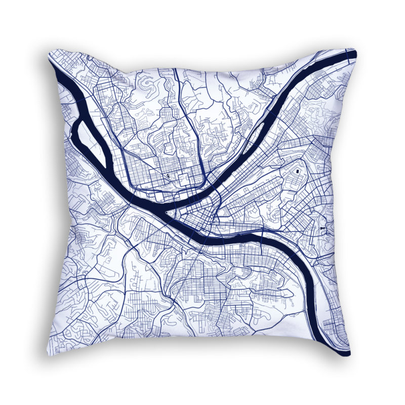 Pittsburgh Pennsylvania City Map Art Decorative Throw Pillow