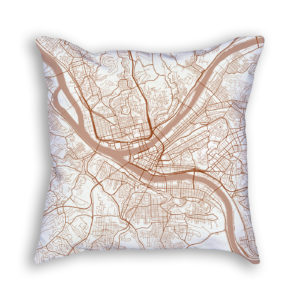 Pittsburgh PA City Map Art Decorative Throw Pillow