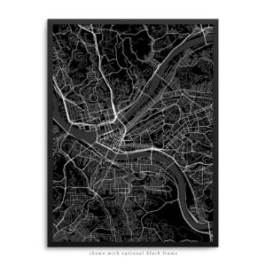 Pittsburgh PA City Street Map Black Poster