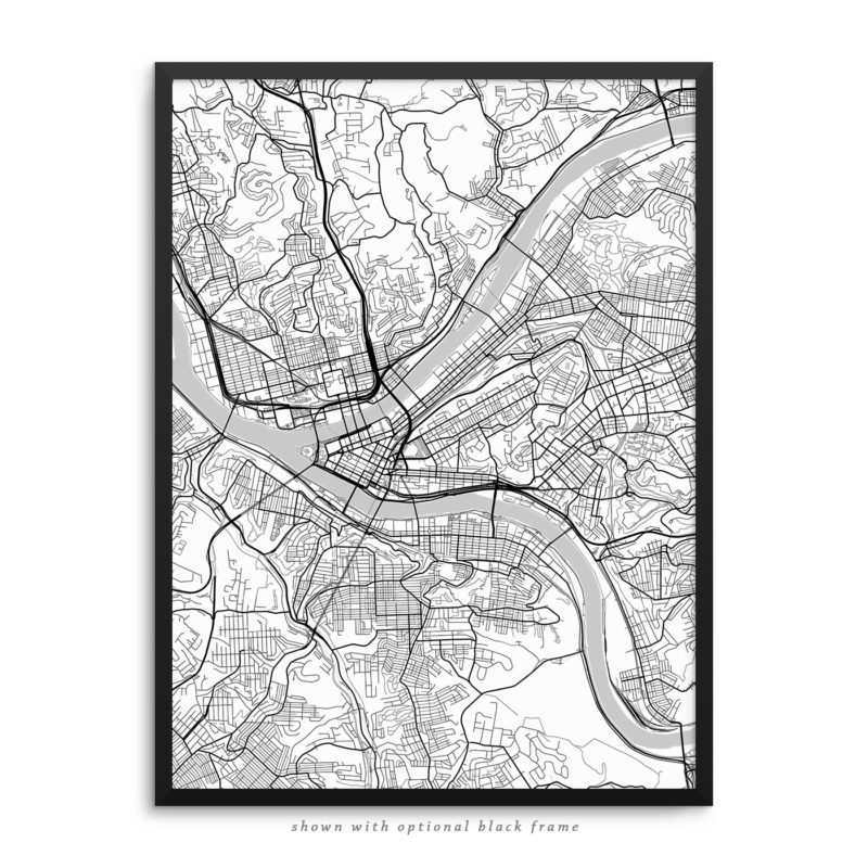 Pittsburgh PA City Street Map White Poster