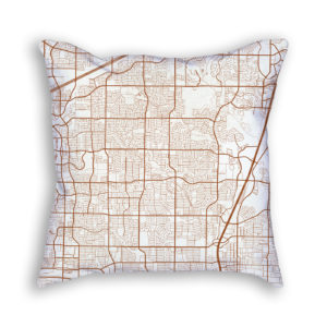 Plano TX City Map Art Decorative Throw Pillow