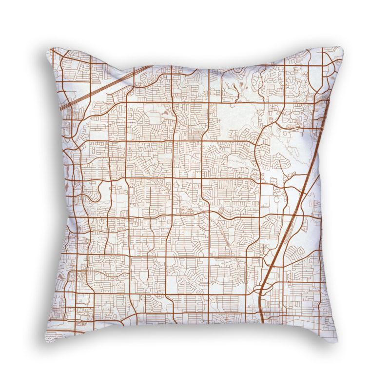 Plano TX City Map Art Decorative Throw Pillow