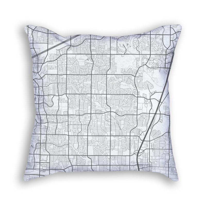 Plano Texas City Map Art Decorative Throw Pillow