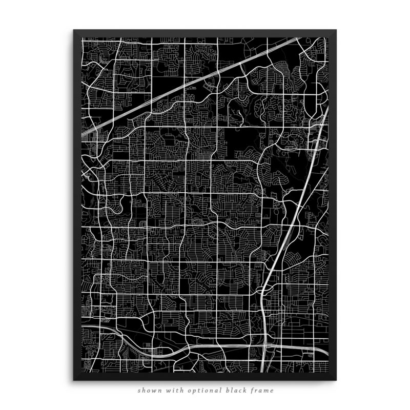 Plano TX City Street Map Black Poster