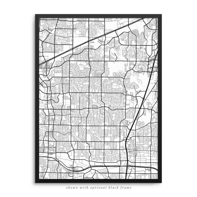 Plano TX City Street Map White Poster