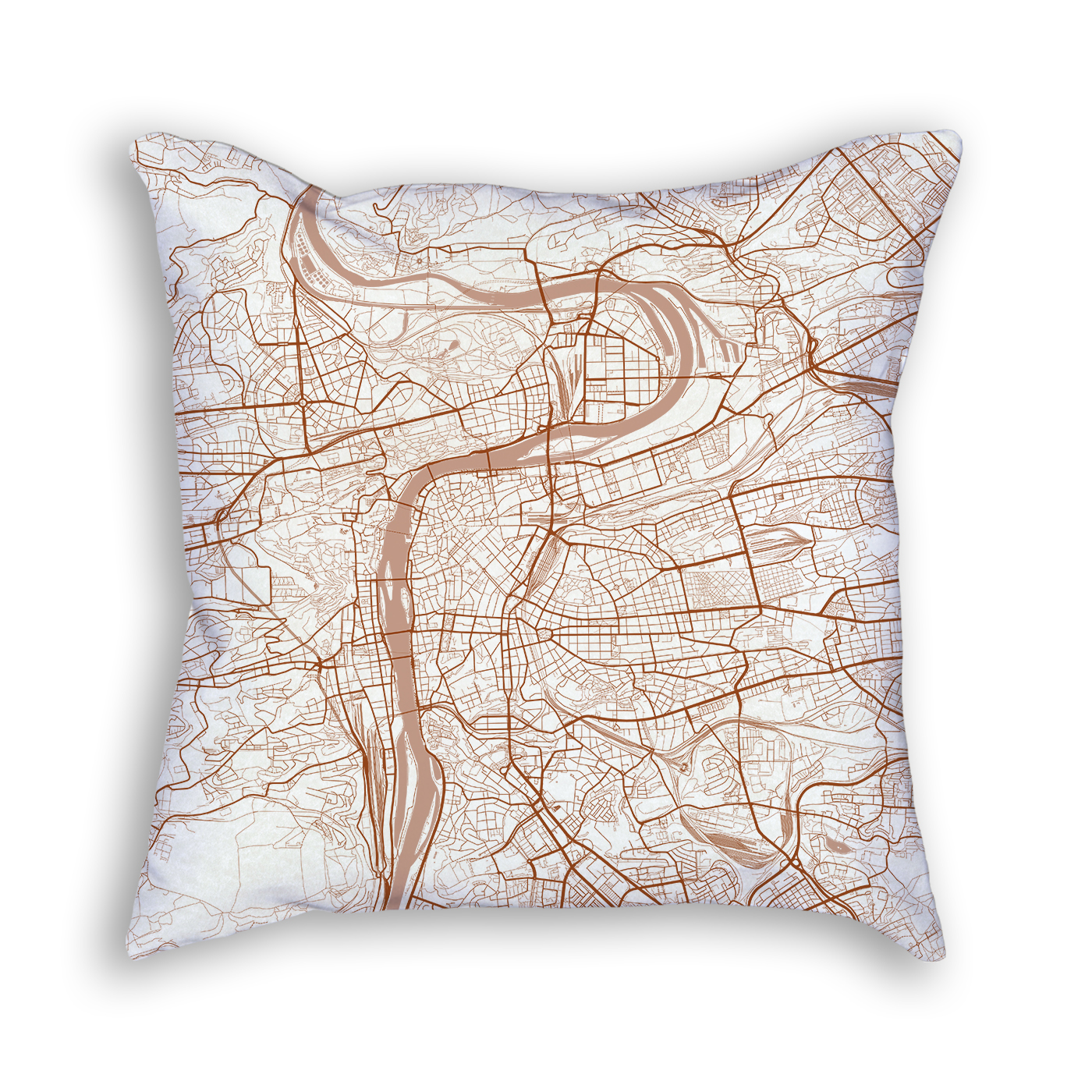 Prague Czech Republic City Map Art Decorative Throw Pillow