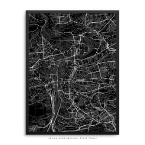 Prague Czech Republic City Street Map Black Poster