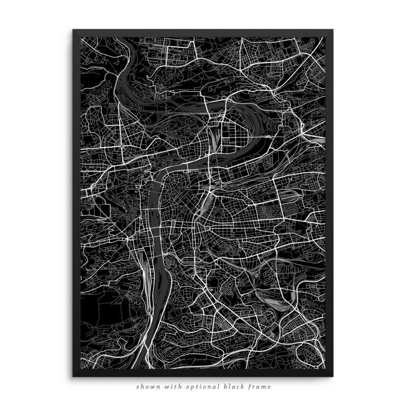 Prague Czech Republic City Street Map Black Poster