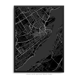 Quebec City Canada City Street Map Black Poster