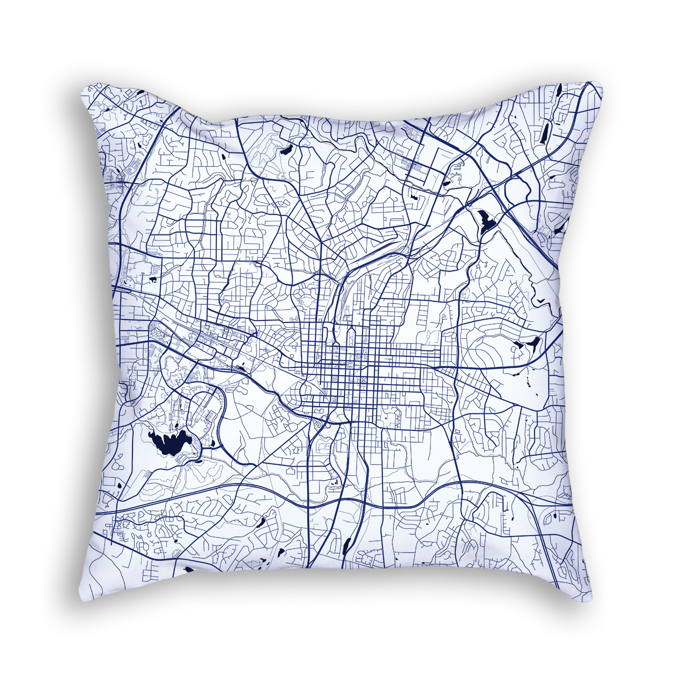 Raleigh North Carolina Throw Pillow City Map Decor