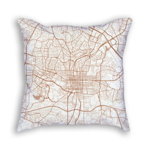 Raleigh NC City Map Art Decorative Throw Pillow