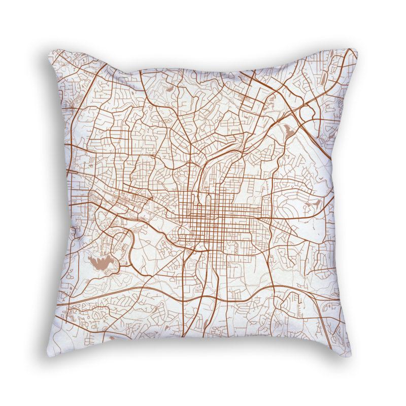 Raleigh NC City Map Art Decorative Throw Pillow