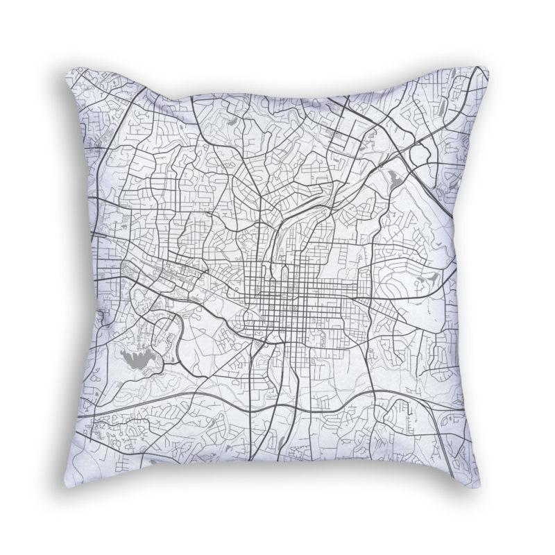 Raleigh North Carolina City Map Art Decorative Throw Pillow