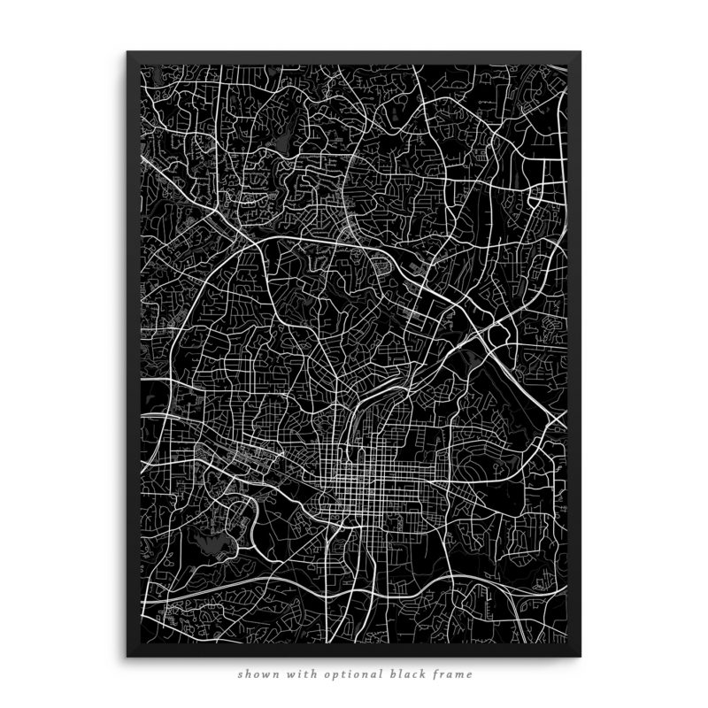 Raleigh NC City Street Map Black Poster