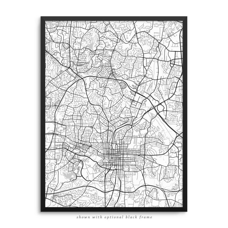 Raleigh NC City Street Map White Poster