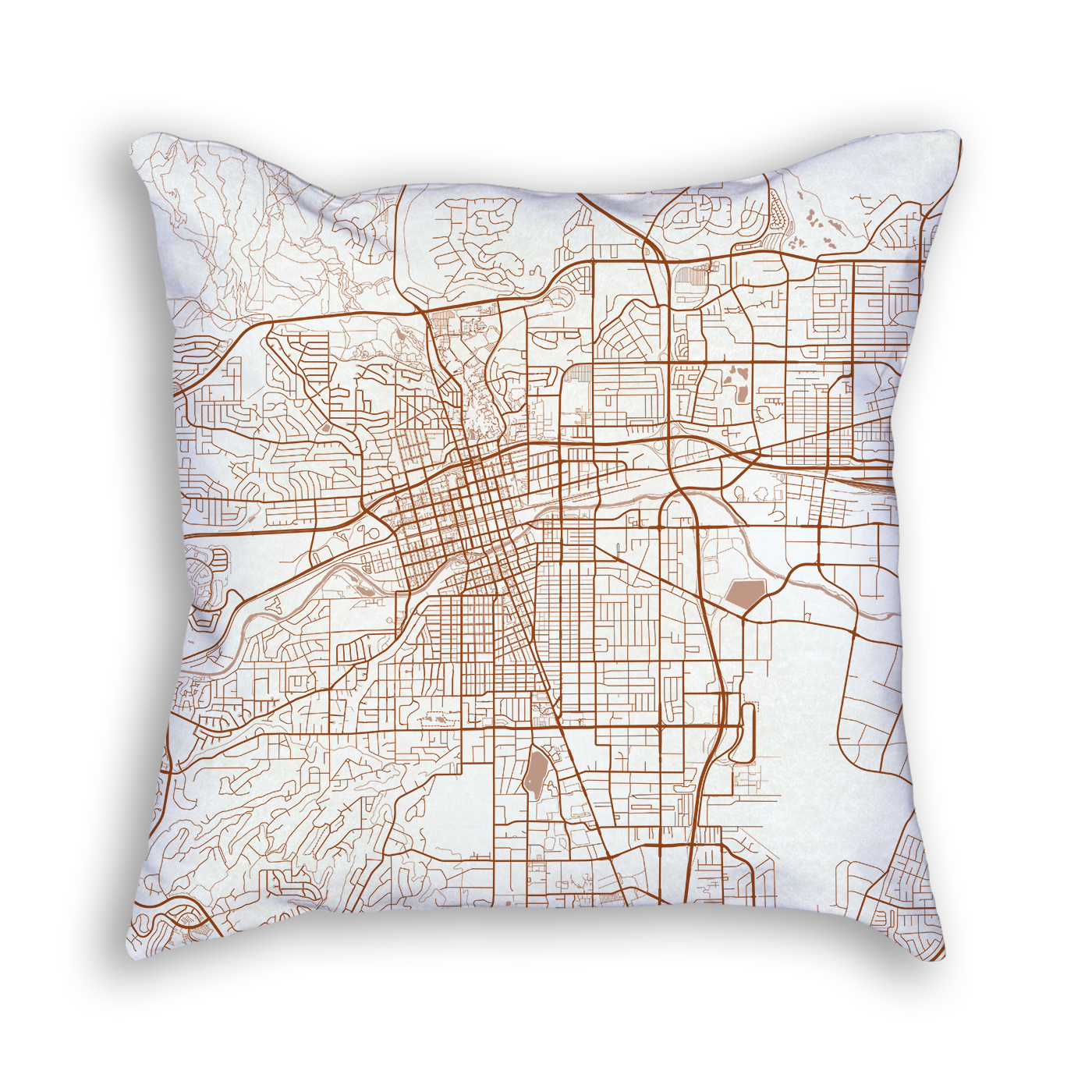 Reno Nevada City Map Art Decorative Throw Pillow