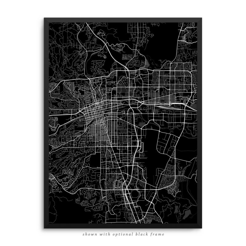 Reno NV City Street Map Black Poster