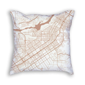 Riverside CA City Map Art Decorative Throw Pillow