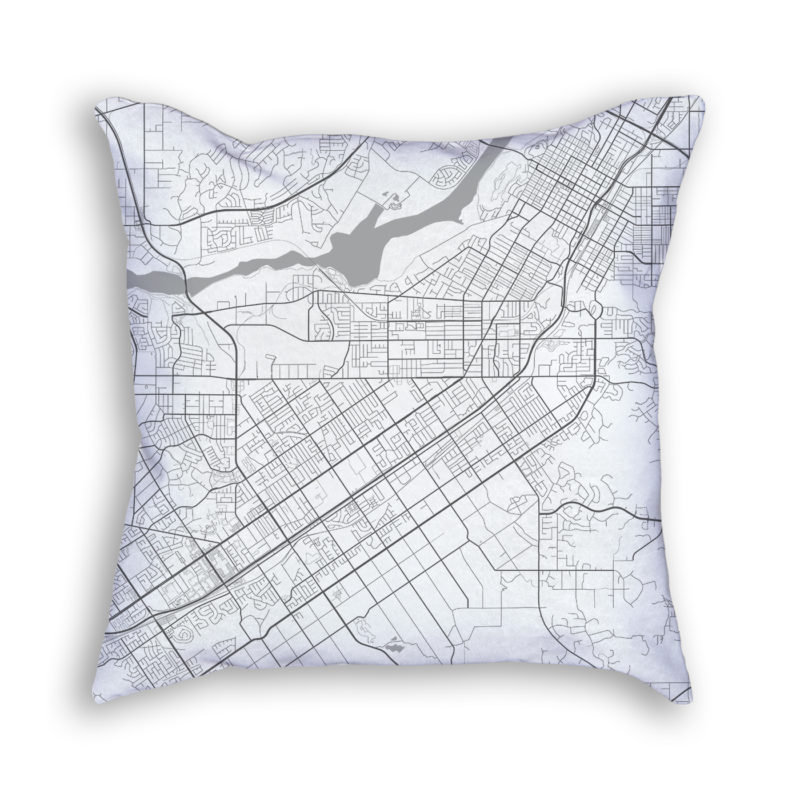 Riverside California City Map Art Decorative Throw Pillow