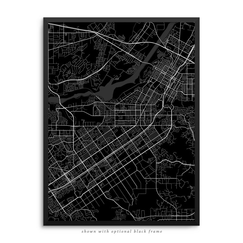 Riverside CA City Street Map Black Poster