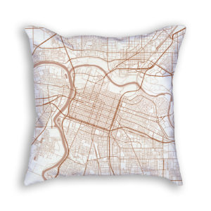 Sacramento CA City Map Art Decorative Throw Pillow